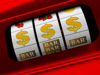 3d illustration of red slot machine with dollars jackpot